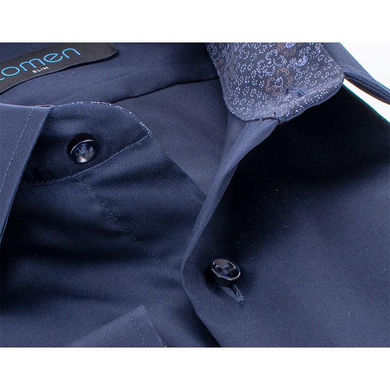 Granatowa koszula Comen slim z długim rękawem i wykończeniem w kwiaty