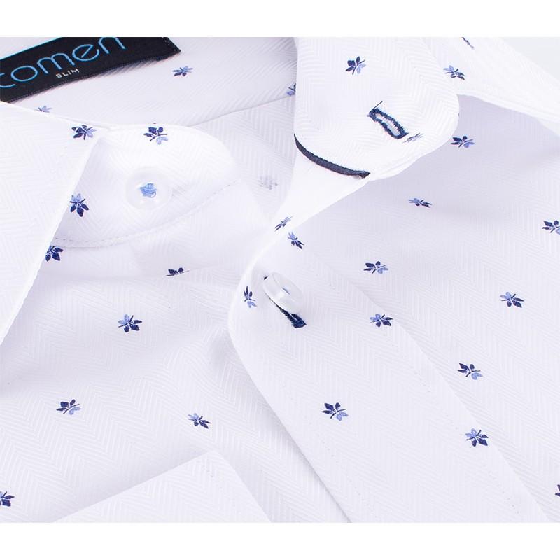 Biała koszula Comen z długim rękawem ze wzorem w granatowe listki
