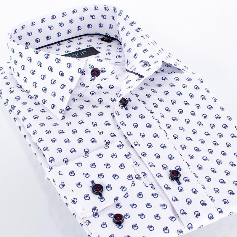 Biała koszula Comen z długim rękawem i wzorem w granatowe muszle - slim