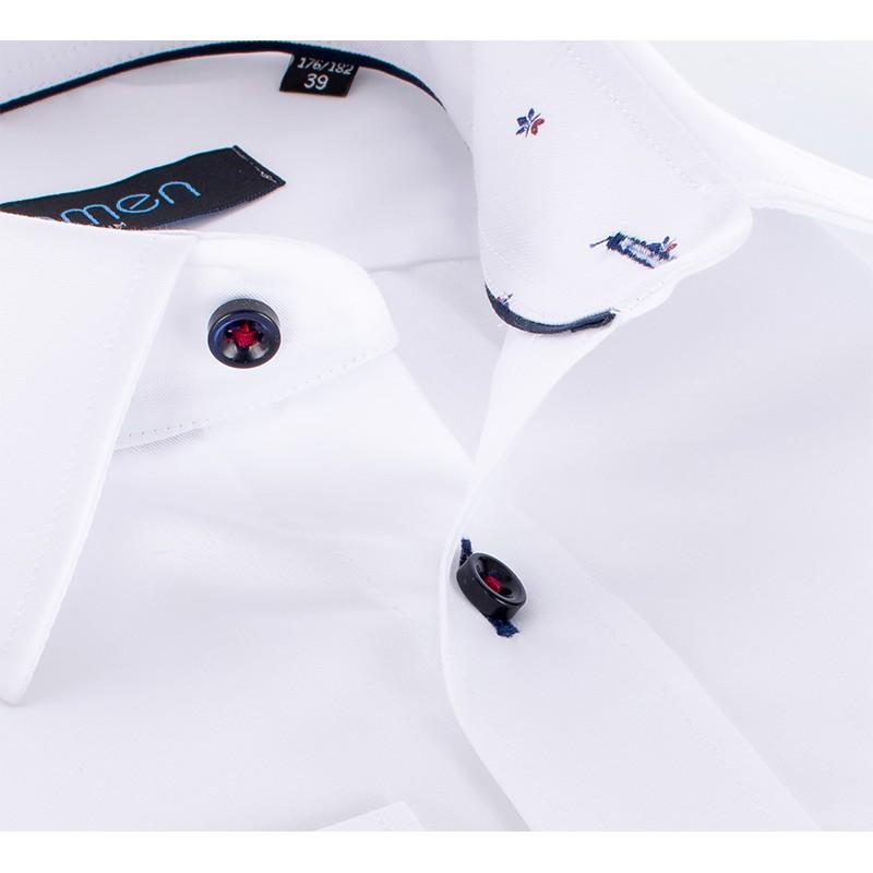Biała koszula Comen z długim rękawem i wykończeniem w listki