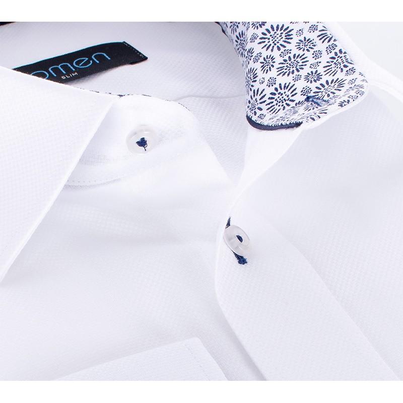 Biała koszula Comen z długim rękawem i wykończeniem w granatowe kwiatki