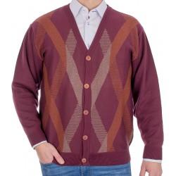 Bordowy sweter zapinany na guziki Kings 106*110702 kolor 376