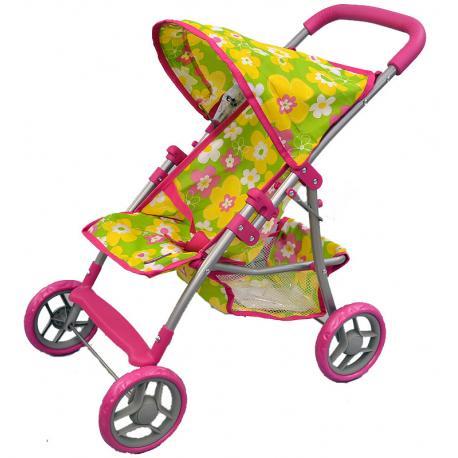 wózek dla lalek Adar 081024 wzór M803 zielony w kwiatki