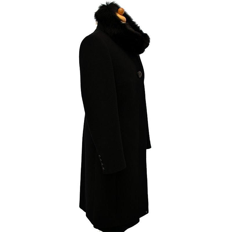 płaszcz z lisem Dziekański Marta 26 czarny