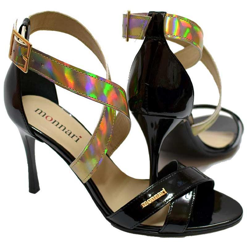 sandały Monnari 0470-M20 czarne lakier złoty