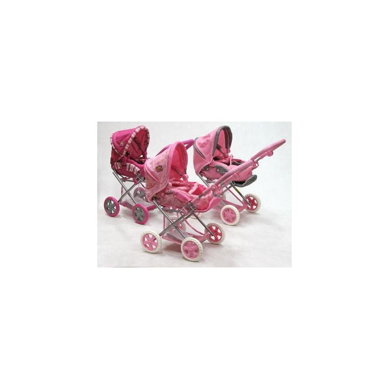 wózek dla lalek głębokospacerowy 2w1 081048 różowy Adar