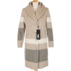 płaszcz z moherem Biba Judyta beżowy pasy rozmiar 38 40 42 44 46