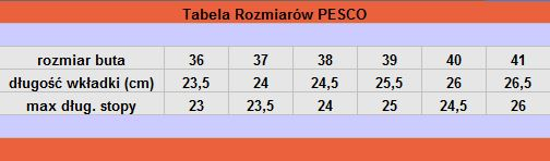 tabela rozmiarów PESCO